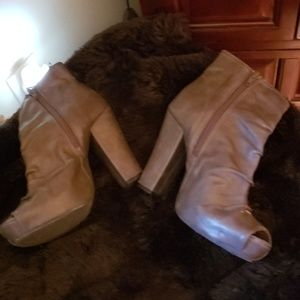 MIA Shoes - Open Toe Gray Booties